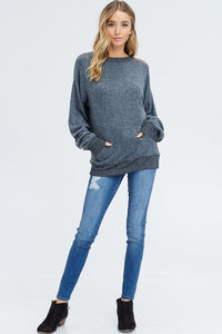 Brushed french terry long sleeve top - by Cherish USA - available at rkcollections.myshopify.com - Taupe / LARGE - Tops-Brushed