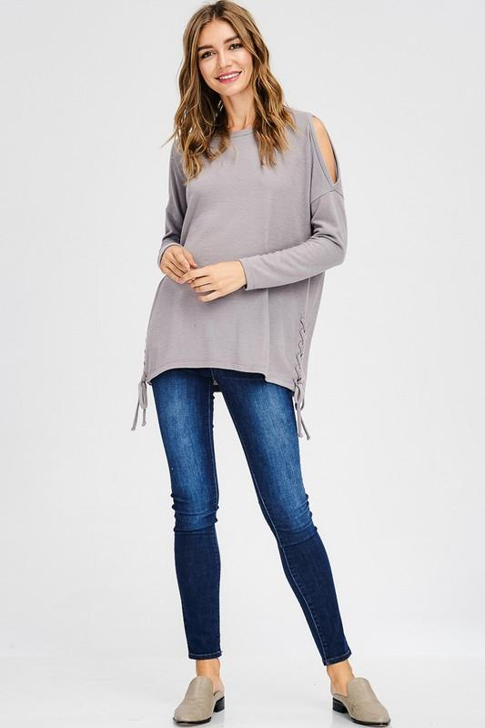 Brushed Knit Cold Shoulder Long Sleeve Top With Lace-Up Detail - by Cherish USA - available at rkcollections.myshopify.com -  - Tops-Brushed