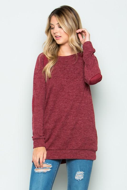 brushed knit elbow patch long sleeve tunic - by Acting Pro - available at rkcollections.myshopify.com -  - Tops-Sweater