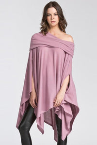 brushed off the shoulder poncho - by Cherish USA - available at rkcollections.myshopify.com - Mauve / ONE SIZE - Tops-Off The Shoulder