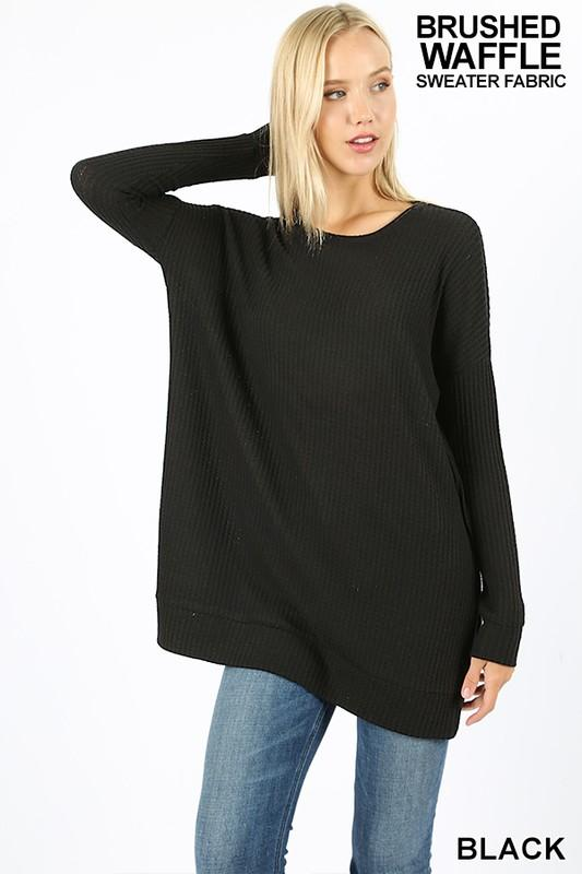 BRUSHED THERMAL WAFFLE ROUND NECK SWEATER - by Zenana - available at rkcollections.myshopify.com -  - Tops-Long Sleeve