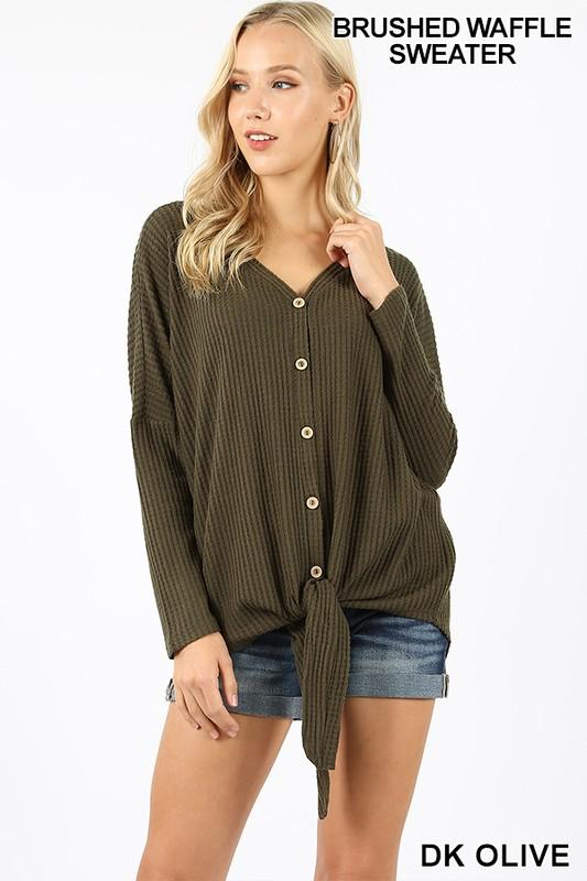 BRUSHED WAFFLE BUTTON DOWN TIE FRONT - by Zenana - available at rkcollections.myshopify.com - Dark Olive / XL - Tops-Long Sleeve