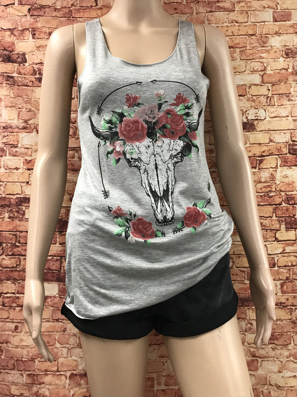 Bull skull with roses graphic tank - by Clothing of America - available at rkcollections.myshopify.com -  - Tops