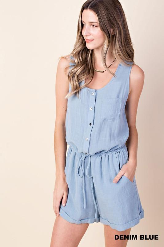button front safari romper - by Kori America - available at rkcollections.myshopify.com -  - Romper