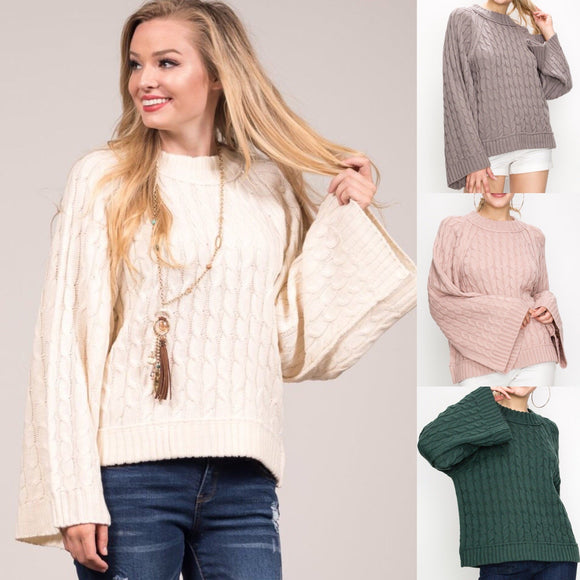 Cable Knit Bell Sleeve Sweater Top - by Favlux - available at rkcollections.myshopify.com -  - Tops-Sweater