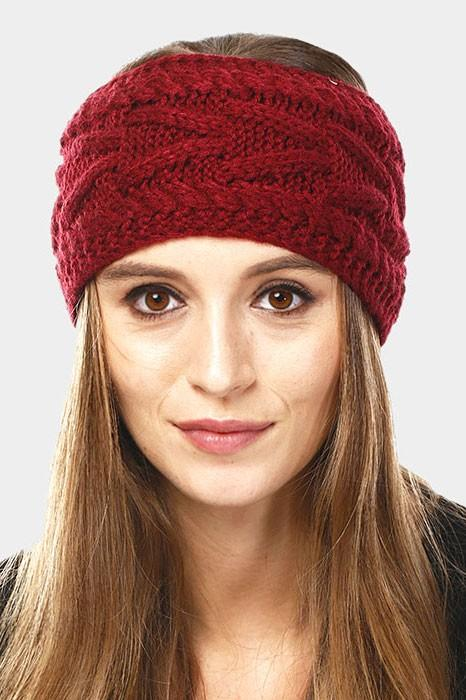 Cable knit headband - by Wona Trading - available at rkcollections.myshopify.com - Burgundy / ONE SIZE - Accessory:Hat