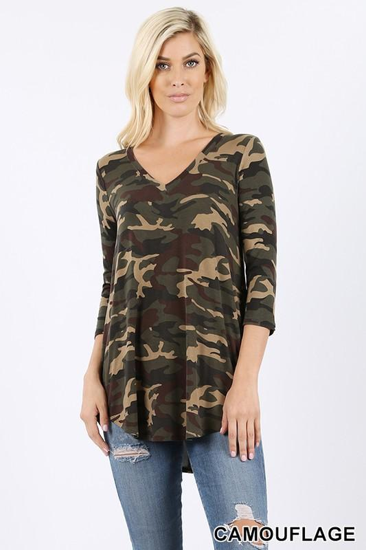 CAMOUFLAGE PRINT V-NECK ROUND HEM TOP RT-1816P - by Zenana - available at rkcollections.myshopify.com -  - Tops-Long Sleeve