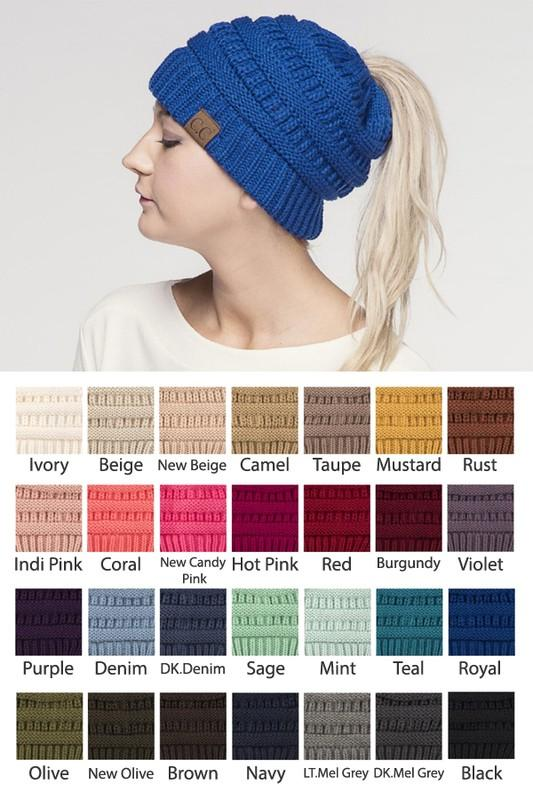 #Cc Beanie Messy Bun - by CC - available at rkcollections.myshopify.com -  - Accessory:Hat