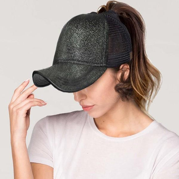 CC messy bun glitter trucker hat - by CC - available at rkcollections.myshopify.com -  - Accessory:Hat