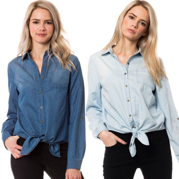 Chambray Button Down Tie Front Top - by Love Tree - available at rkcollections.myshopify.com -  - Tops