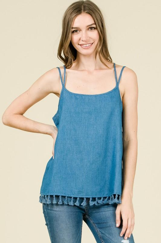 Chambray Cami with Tassel Detail - by Coverstitch - available at rkcollections.myshopify.com -  - Tops
