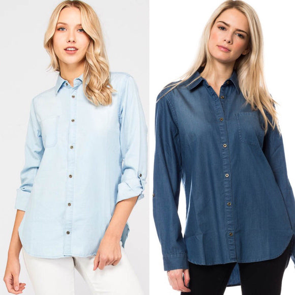 Chambray denim button down - by Love Tree - available at rkcollections.myshopify.com -  - Tops