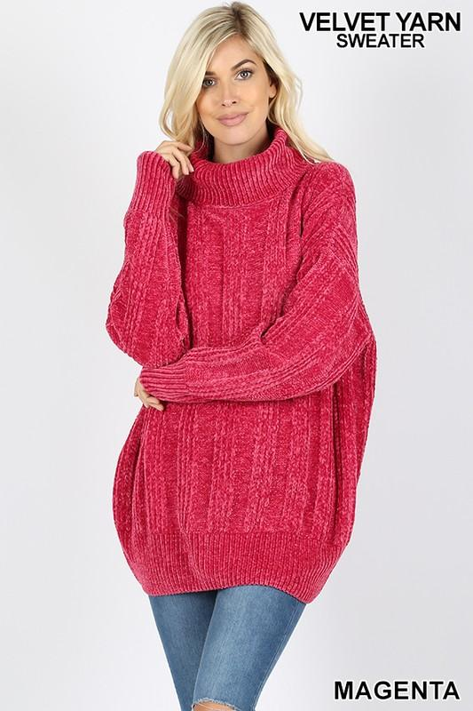 chenille oversized cable knit turtleneck sweater - by Zenana - available at rkcollections.myshopify.com - magenta / EXTRA LARGE - Tops-Sweater