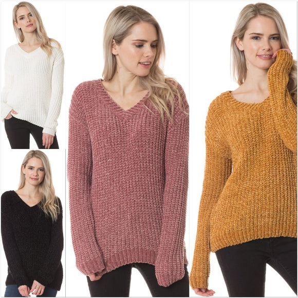 Chenille V Neck Sweater - by Love Tree - available at rkcollections.myshopify.com -  - Tops-Sweater