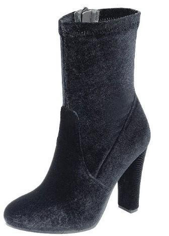 Chunky Heel Velvet Booties - by shoe shoe train - available at rkcollections.myshopify.com -  - Shoe:Bootie