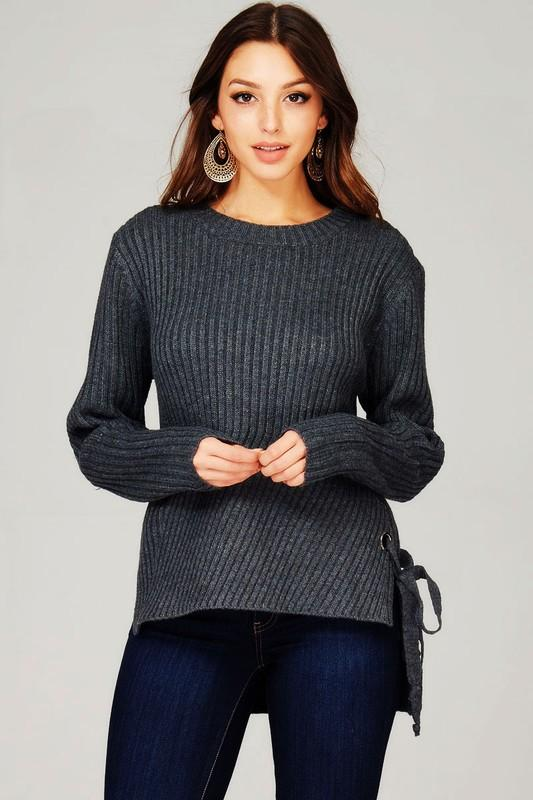 chunky knit lace up sweater - by Sweet Generis - available at rkcollections.myshopify.com -  - Tops-Sweater