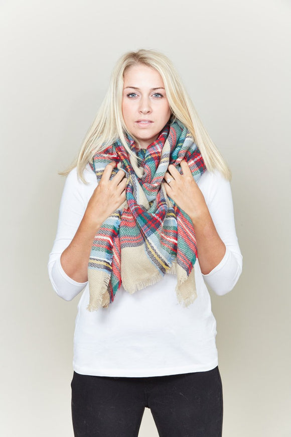 classic plaid blanket scarf - by Lava Accessories - available at rkcollections.myshopify.com -  - Accessory:Scarf