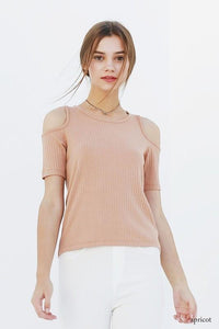 cold shoulder rib top - by Double Zero - available at rkcollections.myshopify.com -  - Tops-Cold Shoulder