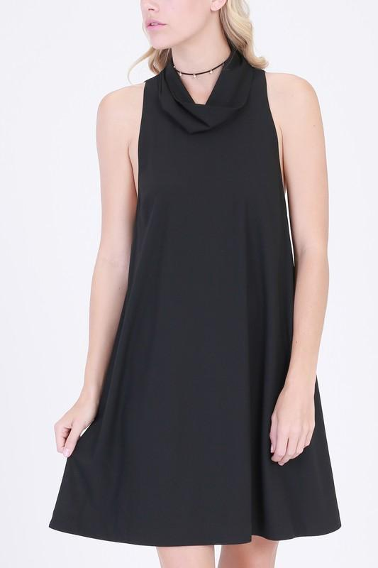 cowl neck open back swing dress - by HyFve - available at rkcollections.myshopify.com - L / Black - Dress