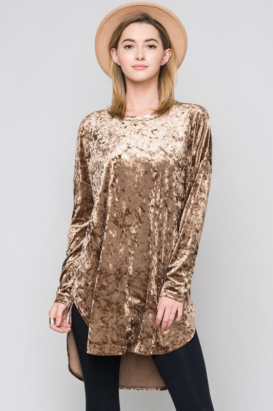 crushed velvet round hem tunic - by Bellamie - available at rkcollections.myshopify.com - Mocha / EXTRA LARGE - Tops
