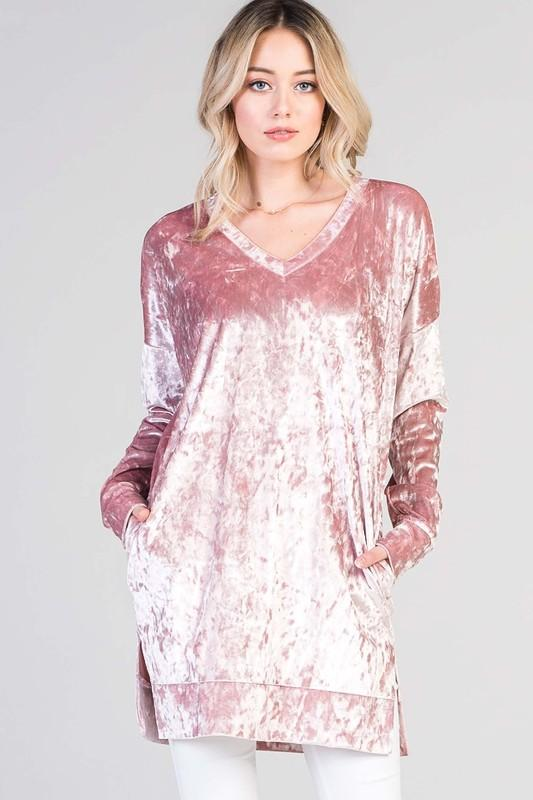 crushed velvet v neck tunic - by Bellamie - available at rkcollections.myshopify.com - Mauve / XL - Tops