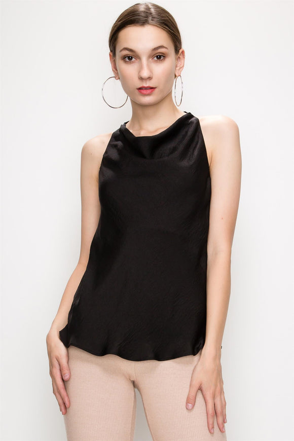 Cutout Back Draped Front Tank Top - by Favlux - available at rkcollections.myshopify.com -  - Tops