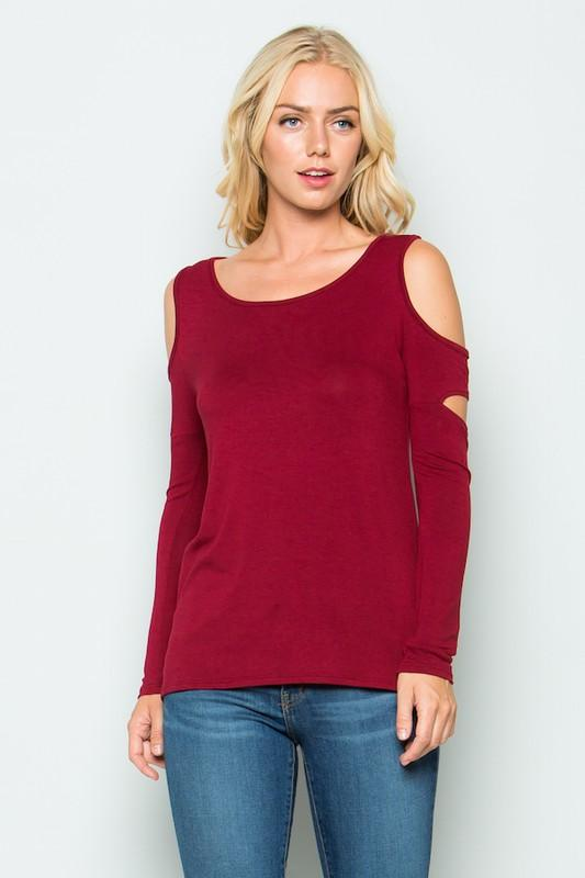 cutout long sleeve top - by Acting Pro - available at rkcollections.myshopify.com -  - Tops