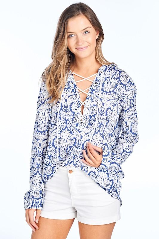 Damask print lace up blouse - by BD Collection - available at rkcollections.myshopify.com -  - Tops