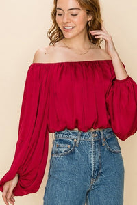 Satin crop off the shoulder pleated blouse