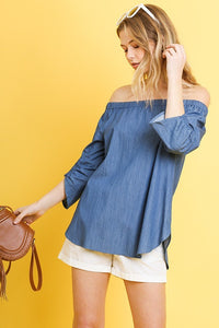 G1676-D-S-Umgee-Denim off the shoulder top-RK Collections Boutique