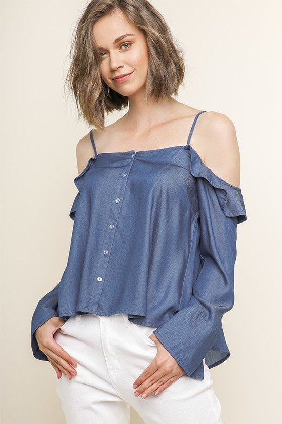 Denim cold shoulder top