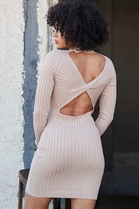Bodycon ribbed dress with open back