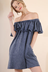 Mineral Wash Off Shoulder Ruffled Dress