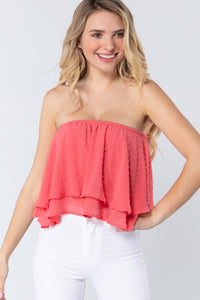swiss dot fly away 2 layer strapless top