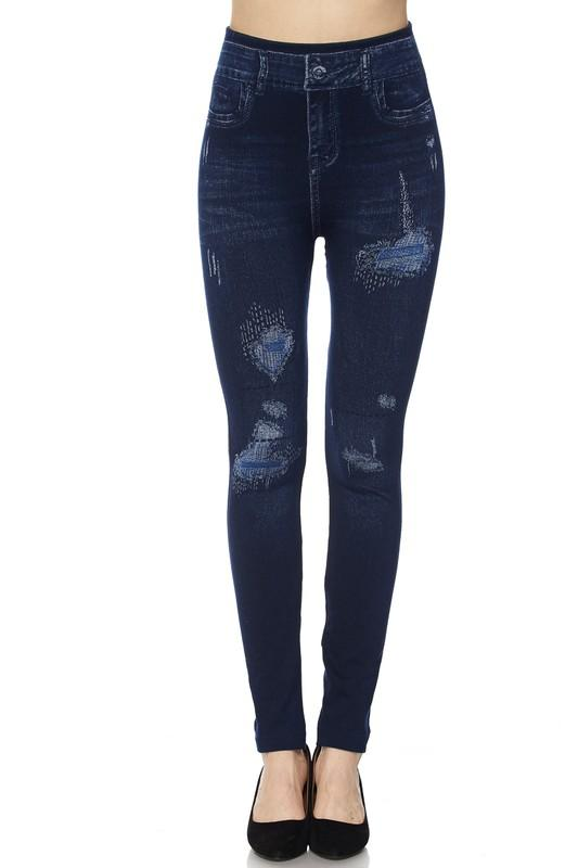 Distressed Denim Print Ankle Leggings - by 2NE1 - available at rkcollections.myshopify.com -  - Leggings