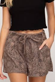 Rattler Faux Snakeskin Suede Shorts