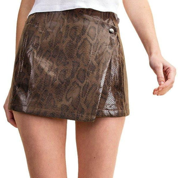 faux leather snakeskin skort