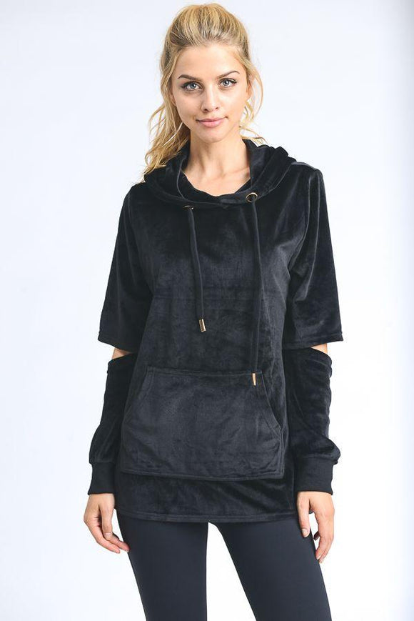 elbow-cutout sleeve velour hoodie top - by Mono B - available at rkcollections.myshopify.com -  - Tops