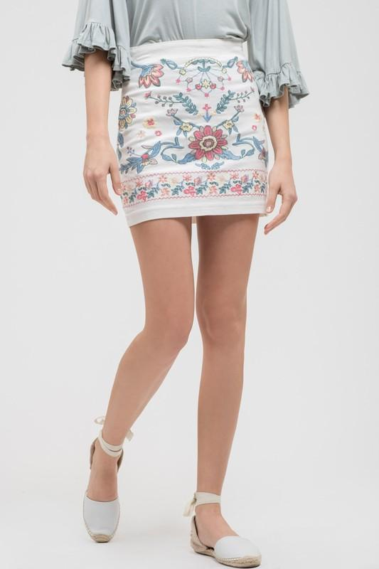 Embroidered Skirt - by Blue Blush - available at rkcollections.myshopify.com -  - Skirts