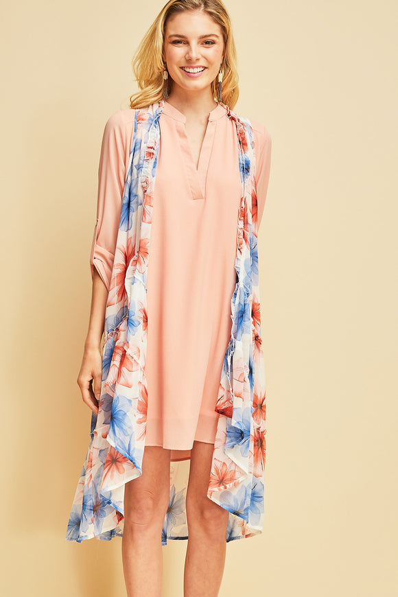 J7662-1-Entro-Floral-print long sheer vest-RK Collections Boutique