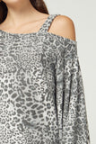 Leopard open shoulder loose dress