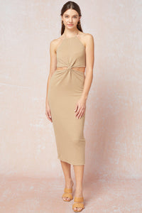 Cutouts ribbed halter sleeveless midi dress
