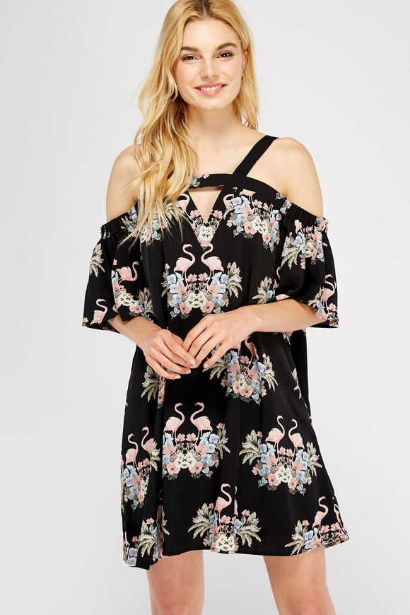 D10022-1-Entro-Flamingo tropical cold shoulder dress-RK Collections Boutique