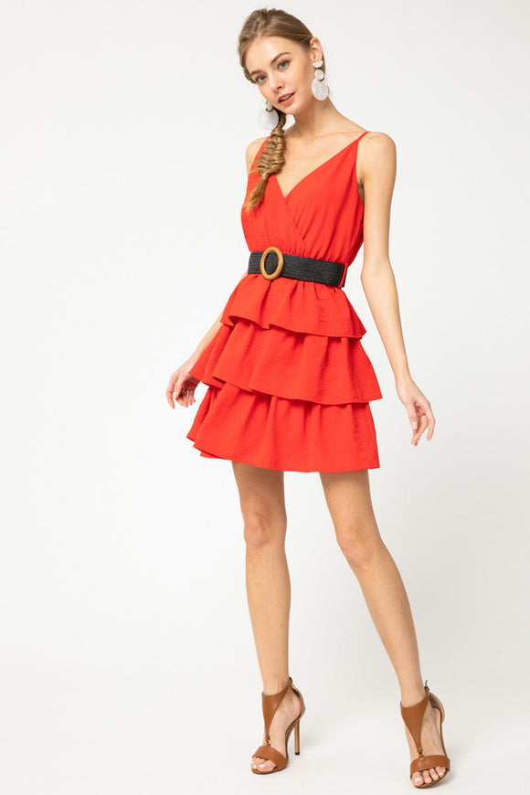 Surplice tiered tank dress with belt