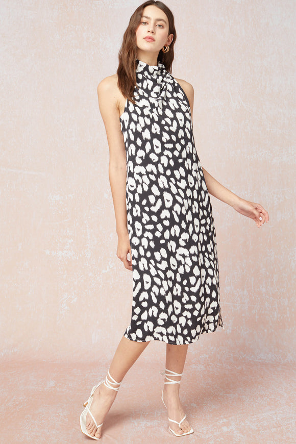 Leopard print cowl neck sleeveless midi dress