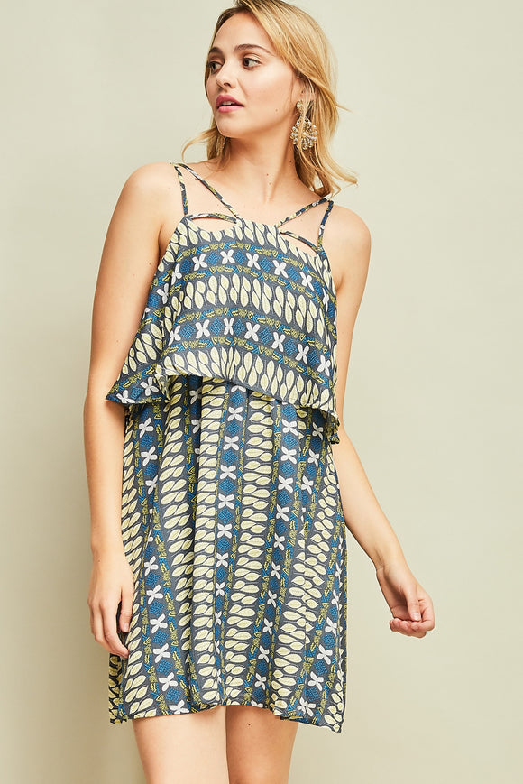 Print strappy layer dress