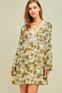 Pineapple-print shift dress with crochet detail