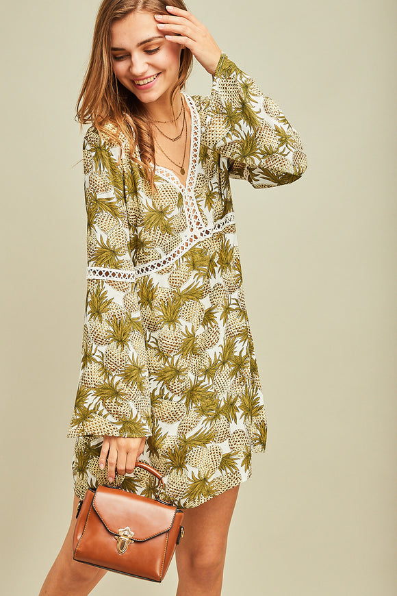 -Entro-Pineapple-print shift dress with crochet detail-RK Collections Boutique