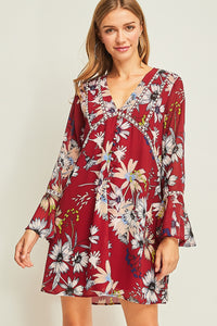 D8644-4-Entro-Floral & crochet bell sleeve dress-RK Collections Boutique