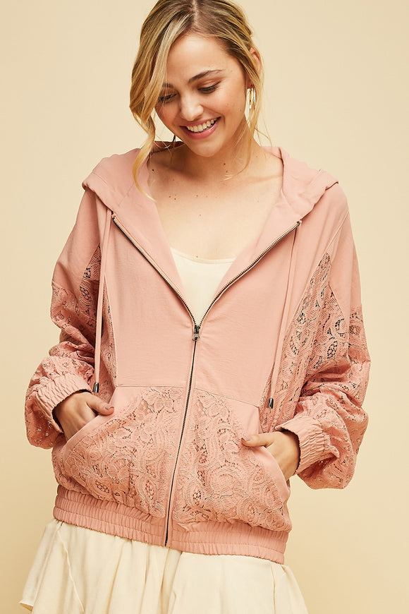 Lace trim zip-up hoodie jacket